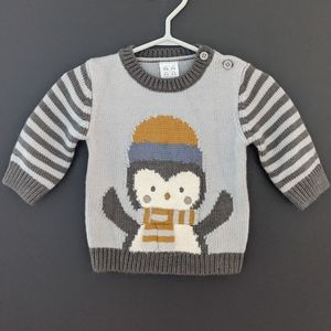 Blue & grey penguin knit sweater